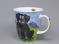 NEVIS Happy Dogs Black Lab- porcelana