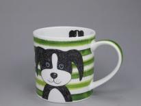 ORKNEY Stripy Dogs Green -porcelana