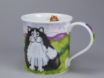BUTE Comical Cats Black and White - porcelana