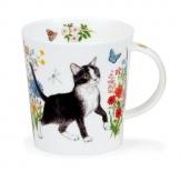 LOMOND -Floral Cats Black & White -porcelana