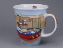 NEVIS Boats Afloat Red -porcelana
