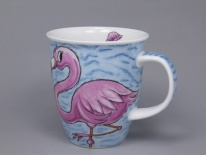 NEVIS Tropical Birds Flamingoes- porcelana
