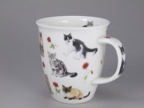NEVIS - Flower Cats Red- porcelana