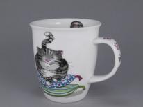 NEVIS Comfy Cats Grey- porcelana